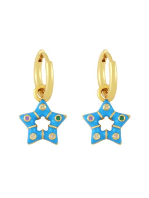 blue Brass Multi Color Enamel Star Vintage Huggie Earring