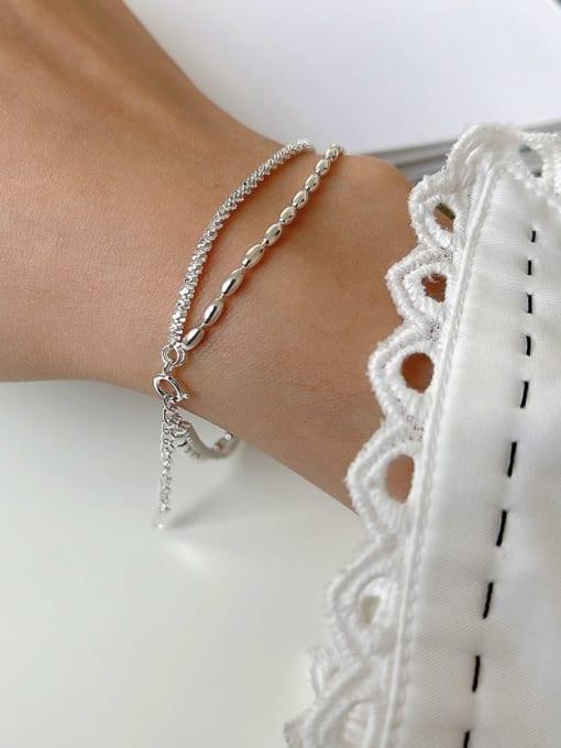 Boomer Cat 925 Sterling Silver Bead Round Minimalist Strand Bracelet 1