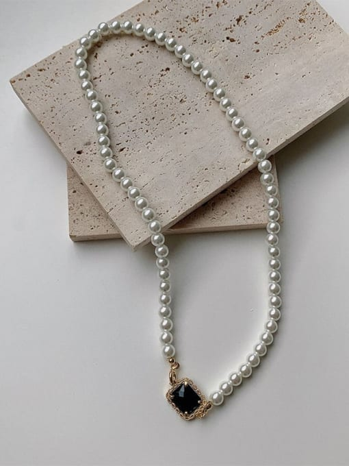 LI MUMU Brass Imitation Pearl Geometric Hip Hop Necklace 0