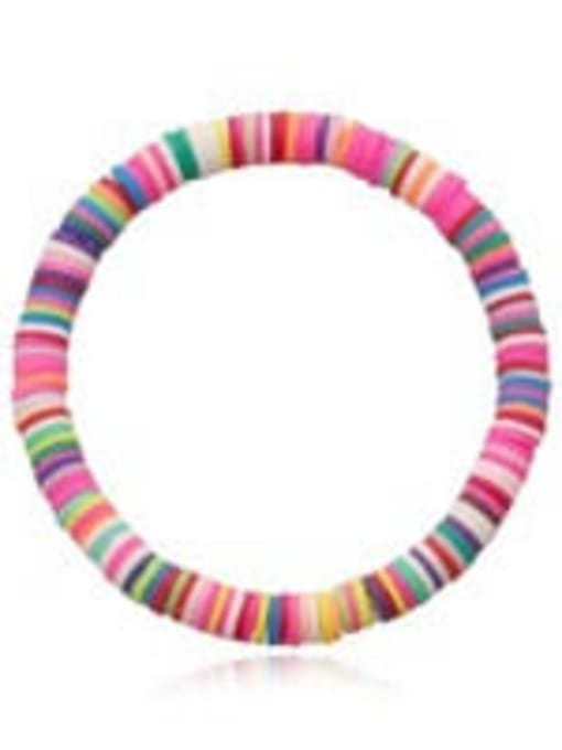 QT B200177C Stainless steel Multi Color Polymer Clay Letter Bohemia Stretch Bracelet