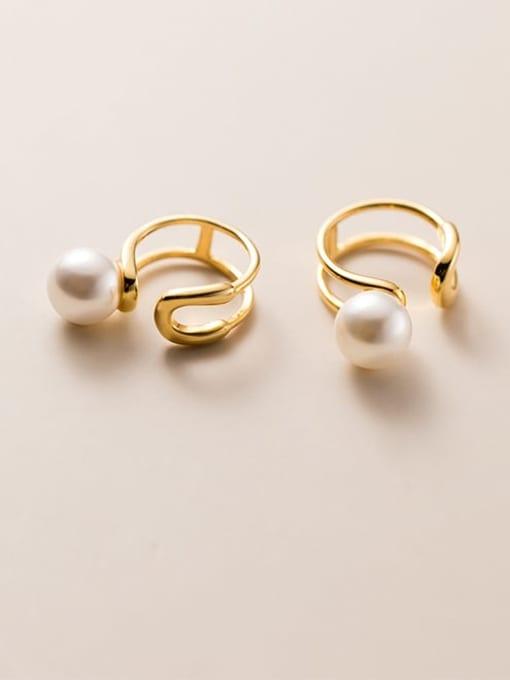 Rosh 925 Sterling Silver Imitation Pearl Geometric Minimalist Clip Earring 0