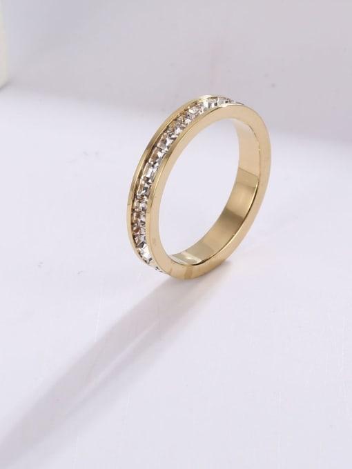 Gold (single layer) Titanium Steel Rhinestone Round Minimalist Stackable Ring