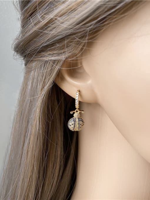 DUDU Brass Cubic Zirconia Bug Vintage Huggie Earring 1