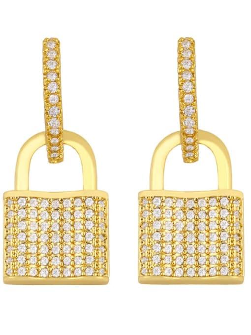 CC Brass Cubic Zirconia Locket Vintage Huggie Earring 3