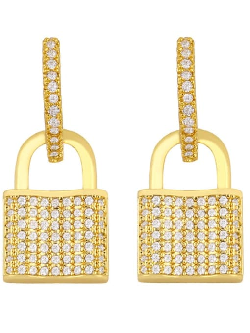 lock Brass Cubic Zirconia Locket Vintage Huggie Earring
