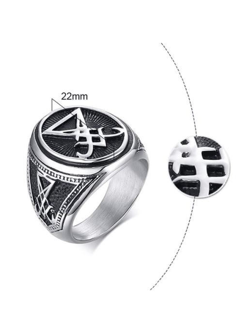 CONG Titanium Steel Geometric Vintage Band Ring 1