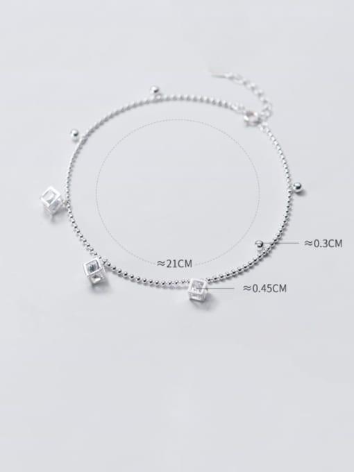 Rosh 925 Sterling Silver Cubic Zirconia  Irregular Minimalist Anklet 3