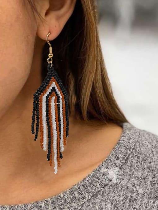 Roxi Stainless steel MGB Bead Multi Color Tassel Bohemia Hook Earring 1