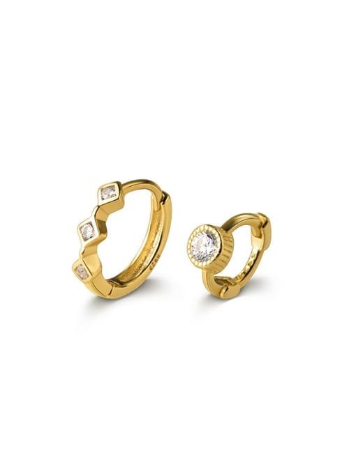 Rosh 925 Sterling Silver Cubic Zirconia Geometric Minimalist Huggie Earring 4