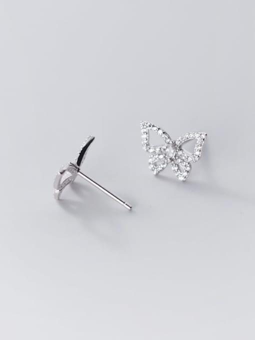Rosh 925 Sterling Silver Rhinestone Butterfly Dainty Stud Earring 2