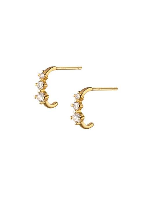 Rosh 925 Sterling Silver Cubic Zirconia Irregular Minimalist Stud Earring