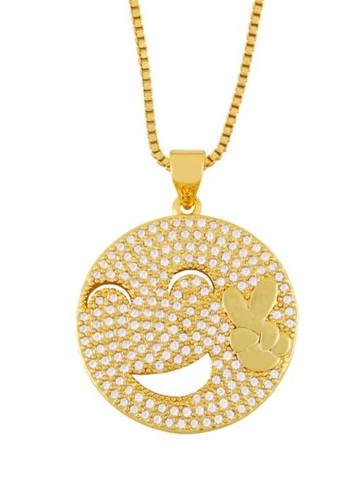 C Brass Cubic Zirconia Smiley Vintage Necklace