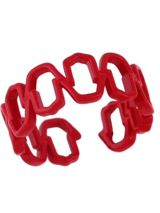 red Brass Enamel Hollow Geometric Minimalist Band Ring