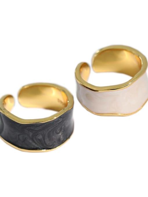 Dak Phoenix 925 Sterling Silver Enamel Irregular Minimalist Band Ring 4