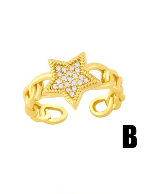 B Brass Cubic Zirconia Star Vintage Band Ring