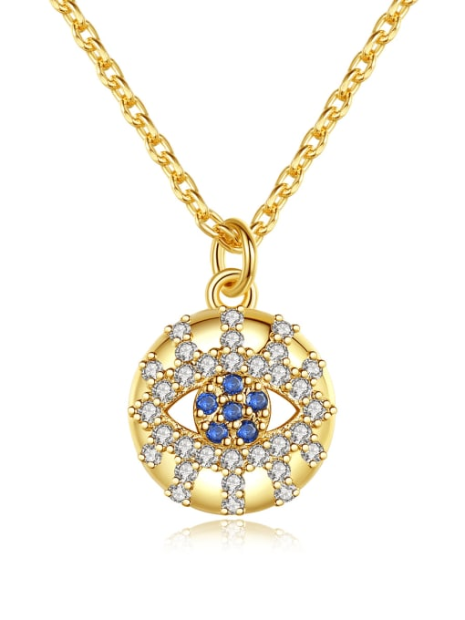 BLING SU Brass Cubic Zirconia Round Vintage Necklace 0