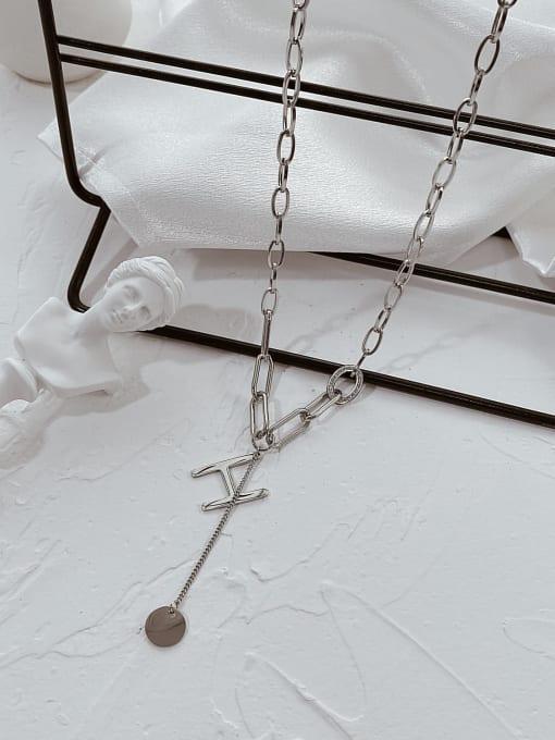 Open Sky Titanium Steel Letter Minimalist Lariat Necklace 1