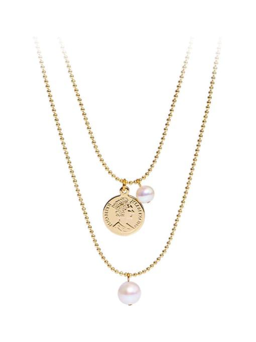 RAIN Brass Freshwater Pearl Geometric Vintage Beaded Necklace 0