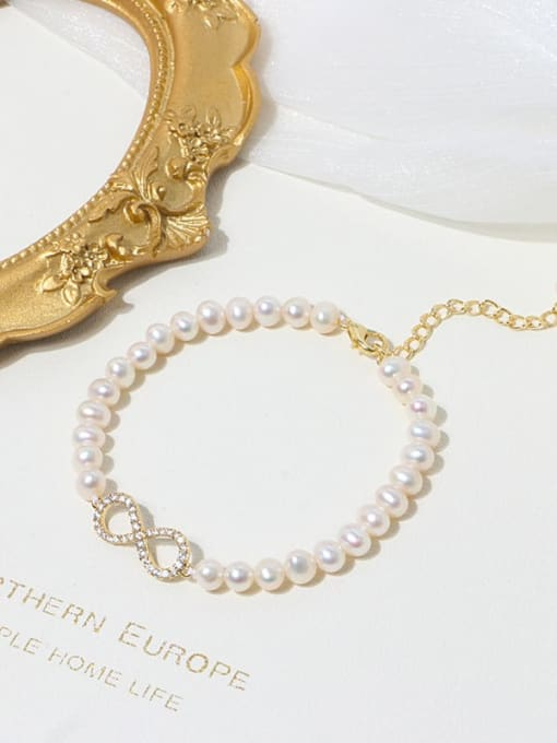 RAIN Brass Freshwater Pearl Number 8 Minimalist Beaded Bracelet 2