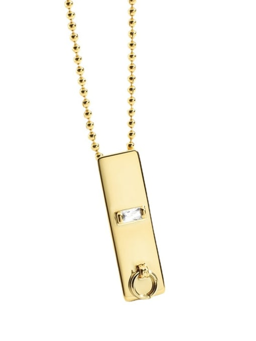 CHARME Brass Cubic Zirconia Geometric Minimalist Necklace 4