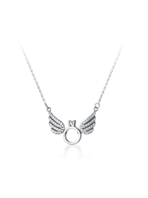 Rosh 925 Sterling Silver Rhinestone Wing Minimalist Necklace 0