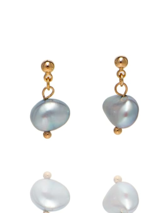 RAIN Brass Freshwater Pearl Irregular Ethnic Drop Earring