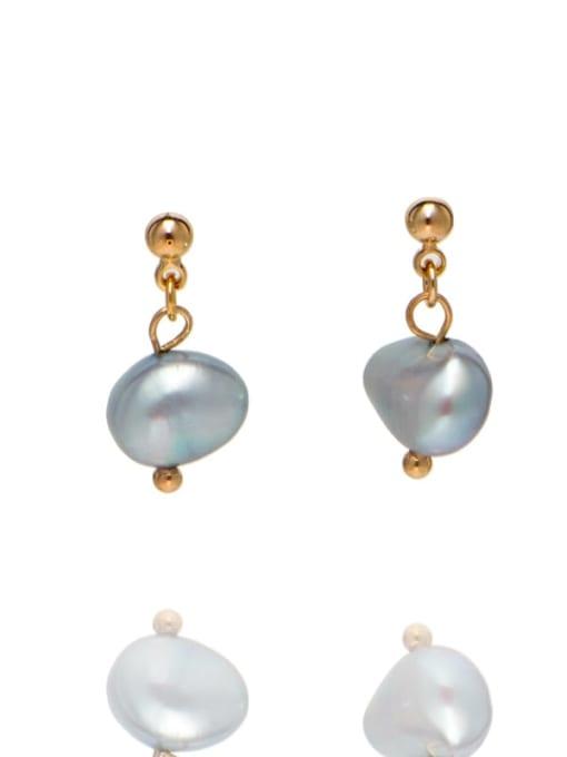 golden Brass Freshwater Pearl Irregular Ethnic Drop Earring