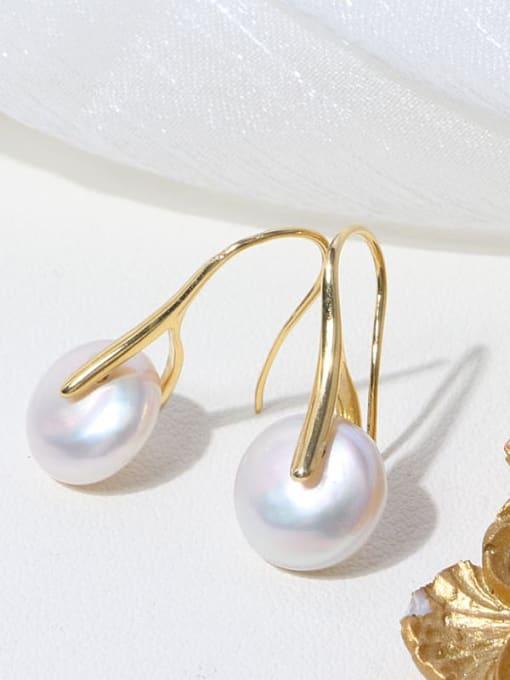 RAIN Brass Freshwater Pearl Geometric Minimalist Stud Earring 2