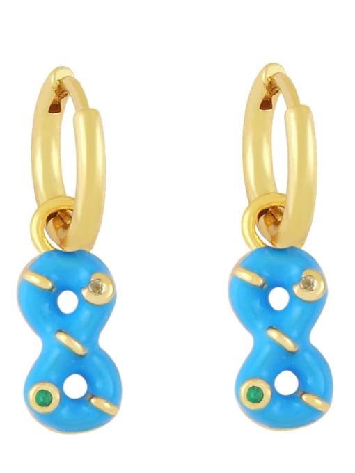 Blue Brass Rhinestone Enamel Number 8 Trend Huggie Earring