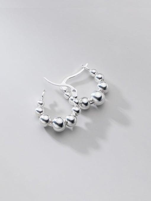 Rosh 925 Sterling Silver Bead Round Minimalist Huggie Earring 4