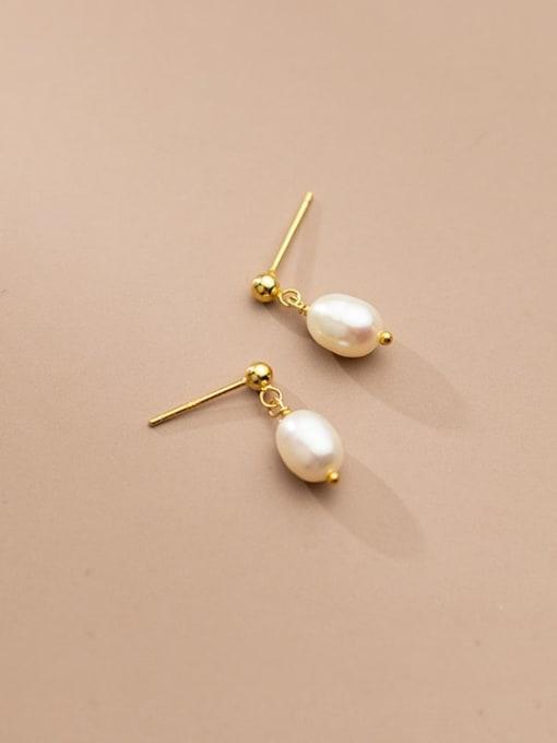 Rosh 925 Sterling Silver Imitation Pearl Water Drop Minimalist Stud Earring 1