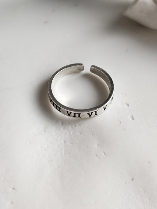 Boomer Cat 925 Sterling Silver Geometric Letter  Minimalist Band Ring 2