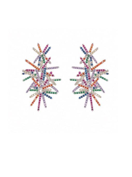 DUDU Brass Cubic Zirconia Flower Luxury Stud Earring