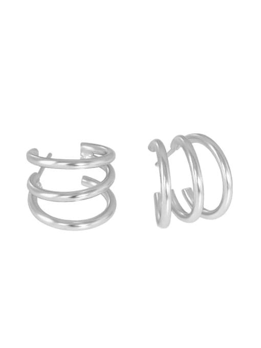 Silver 925 Sterling Silver Smooth Geometric Minimalist Stud Earring