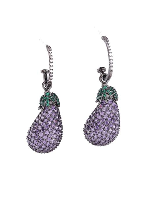 platinum+Purple Brass Cubic Zirconia Irregular eggplant Trend Drop Earring