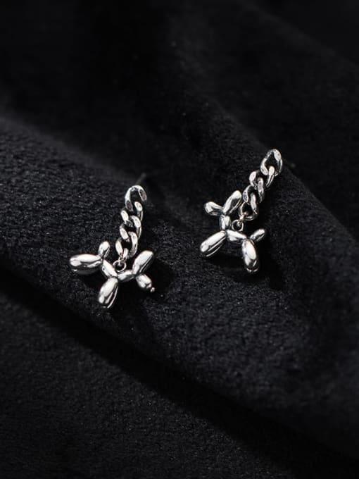 Rosh 925 Sterling Silver Dog Cute Drop Earring 1