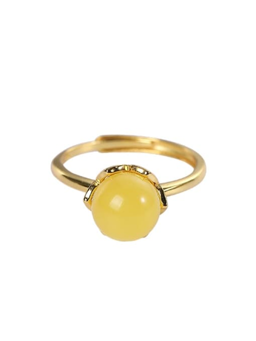 DEER 925 Sterling Silver Citrine Round Minimalist Band Ring 3