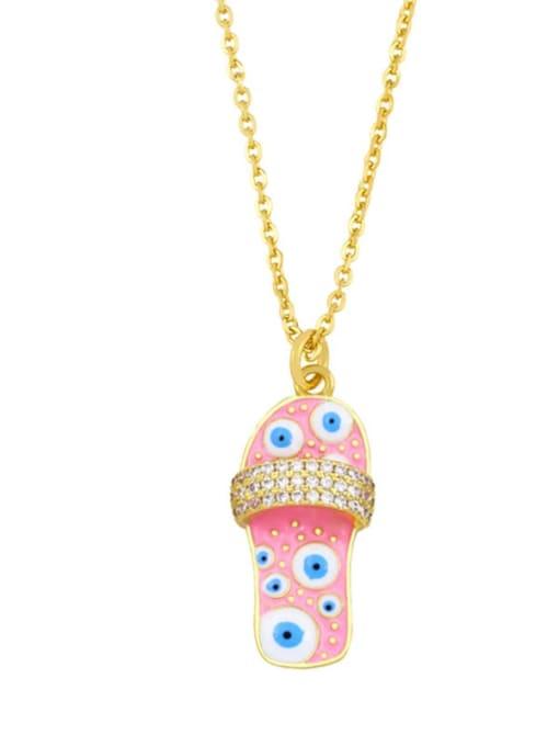 E (pink) Brass Cubic Zirconia Enamel Irregular Vintage Necklace