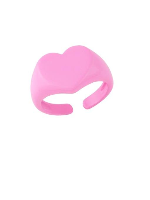 pink Brass Enamel Geometric Hip Hop Band Ring