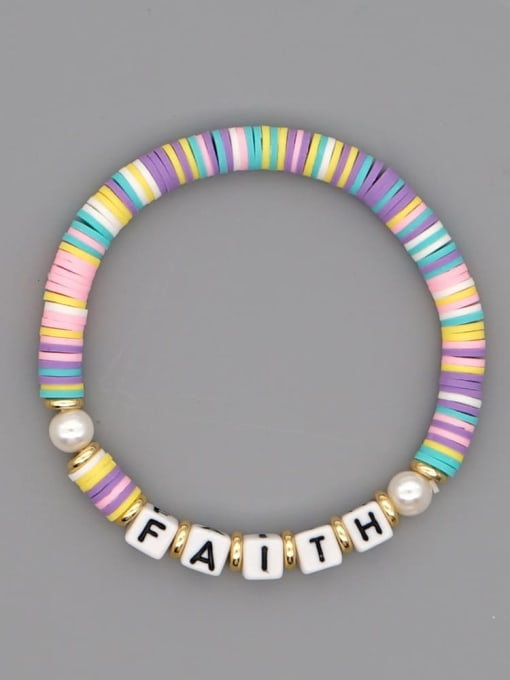 QT B200145G Stainless steel Multi Color Polymer Clay Letter Bohemia Stretch Bracelet