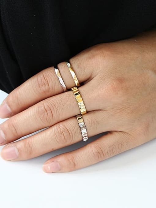 CHARME Brass Irregular Vintage Band Ring 2