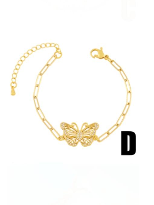 D Brass Cubic Zirconia Butterfly Minimalist Link Bracelet