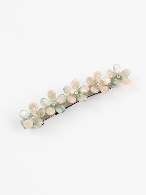 Early spring green Cellulose Acetate Minimalist Flower Zinc Alloy Spring clip Hair Barrette