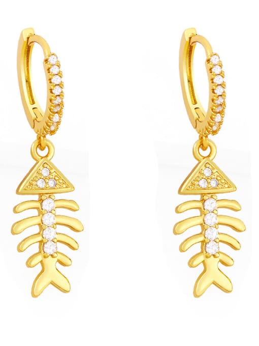 CC Brass Cubic Zirconia Fish tail fish bone Hip Hop Huggie Earring 2
