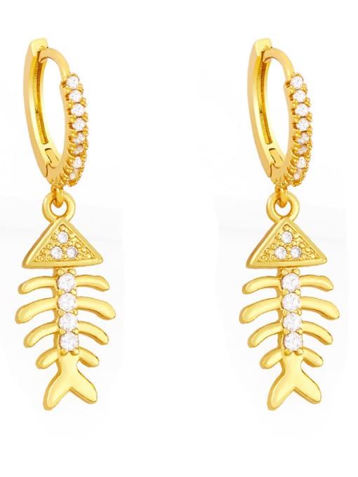Fishbone Brass Cubic Zirconia Fish tail fish bone Hip Hop Huggie Earring