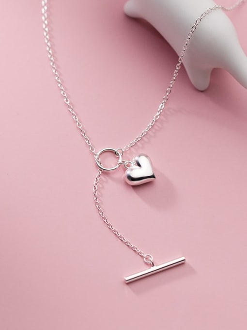 Rosh 925 Sterling Silver Heart Minimalist Lariat Necklace 1