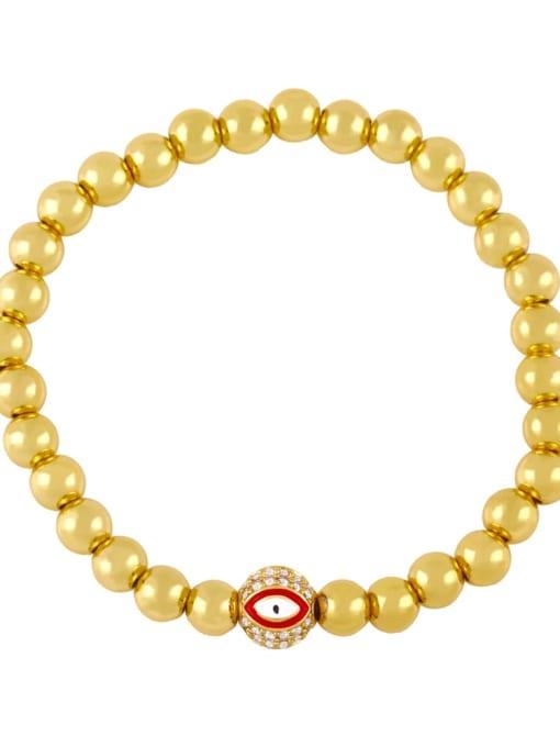 Red eyes Brass Enamel Evil Eye Minimalist Beaded Bracelet