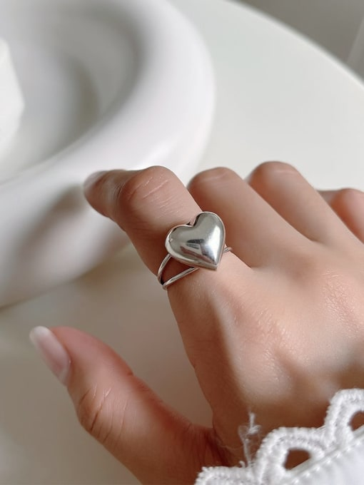 Boomer Cat 925 Sterling Silver Heart Minimalist Band Ring 4