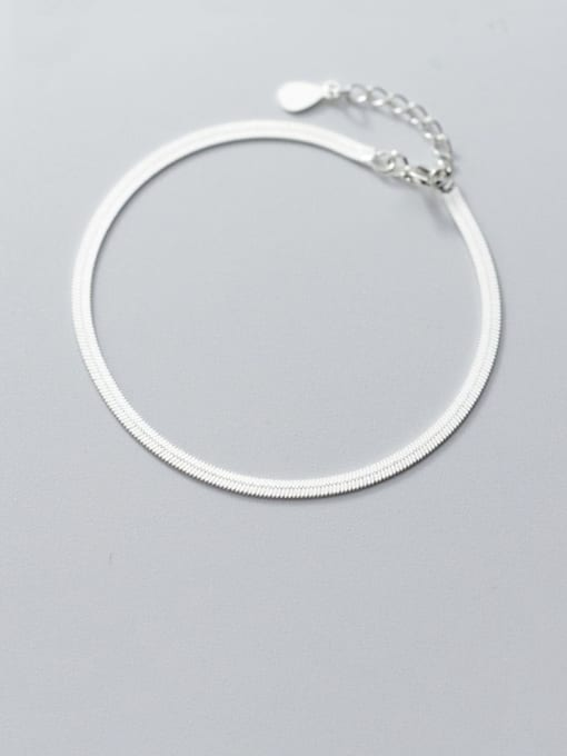 Rosh 925 Sterling Silver Minimalist Flat snake bone chain bracelet  Link Bracelet 0