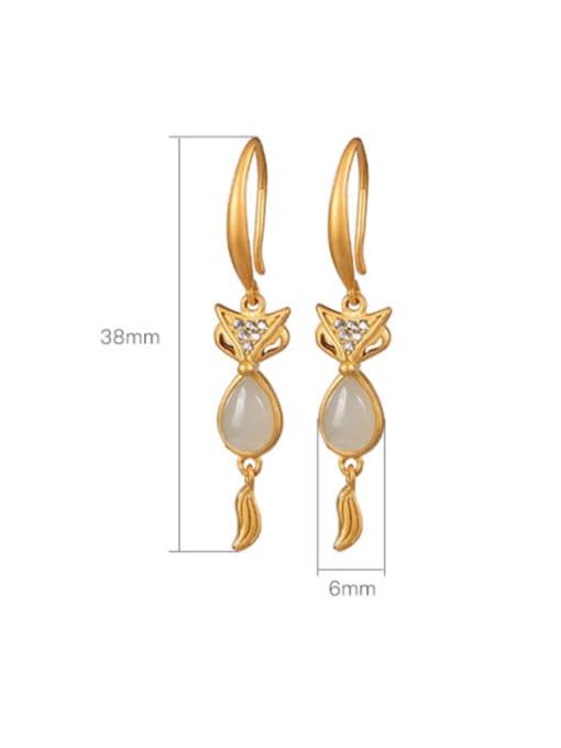 DEER 925 Sterling Silver Jade Fox Cute Hook Earring 2